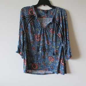 Lucky Brand Peasant Blouse Small Boho Viscose